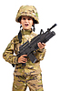 Young boy dressed like soldier with rifle | Stock Foto