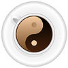 Cup of coffee with Yin Yang symbol