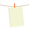 Vector clipart: Paper note at rope with clothes pin