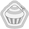 Vector clipart: coupon sticker with cupcake