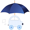 Vector clipart: Blue car under umbrella (concept of protection or