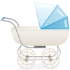 Vector clipart: Blue baby stroller for boy