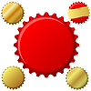 Vector clipart: red and gold bottle cap set