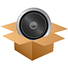 Web icon of Audio speaker in cardboard box