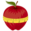 Vector clipart: Measuring tape around red apple