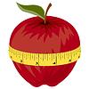 Измерительная лента вокруг красного яблока | Векторный клипарт