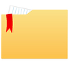 file folder with paper and red ribbon
