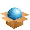 globe in cardboard box