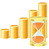 Vector clipart: money icon with hourglass and coins
