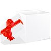 Vector clipart: white gift box with red and gold ribbon bow