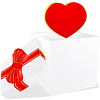 white gift bow with ribbon bow and red heart