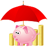 piggy-bank and money under red umbrella