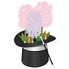 Vector clipart: magical hat with flowers and wand