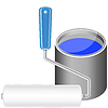 Vector clipart: Paint roller and bucket with blue paint