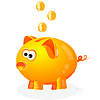 Vector clipart: Piggy bank with coins background