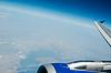 飞机的机翼和涡轮 | 免版税照片