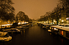 Snowy Amsterdam At Night | Stock Foto
