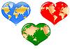 ID 3051938 | Сердечки с картой мира | Иллюстрация большого размера | CLIPARTO