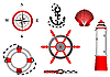 nautical and adventure icons set for design