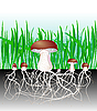 Vector clipart: mushrooms - reproduction of fungus Mycelium and spore