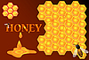 flowing honey on honeycomb background