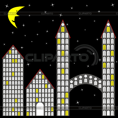 Blocks and houses at night   Stock Vector Graphics  ID 3001274