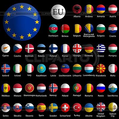 Коллекция иконок с флагами стран Европы | Векторный клипарт |ID 3001316
