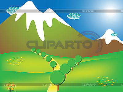 Weg auf die Berge | Stock Vektorgrafik |ID 3001389