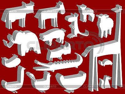 빨간색 배경 위에 동물 인형 | 벡터 클립 아트 |ID 3001739