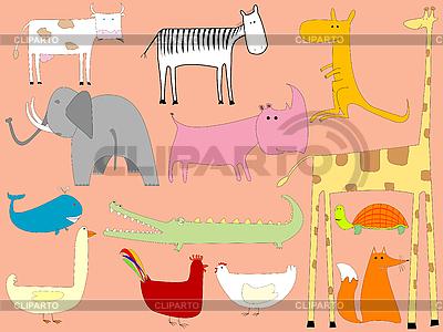 Cartoon-Zeichnung mit Tieren | Stock Vektorgrafik |ID 3001749
