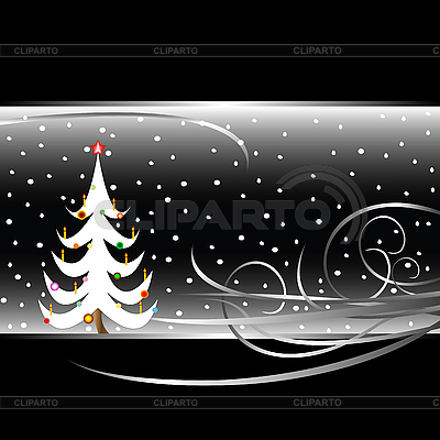 Black and white christmas tree card | Stock Vector Graphics |ID 3002597