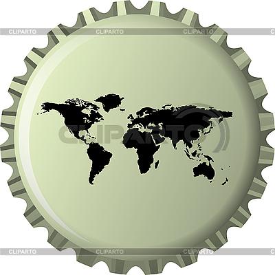 병 뚜껑에 검은 세계지도 | 벡터 클립 아트 |ID 3002623