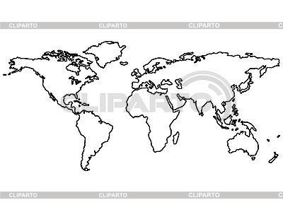 Black world outline map | Stock Vector Graphics |ID 3002625