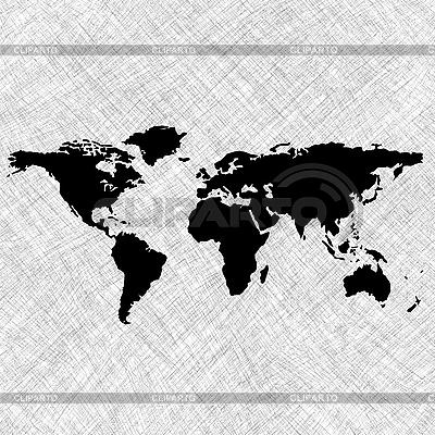 Weltkarte mit den Konturen der Kontinente | Stock Vektorgrafik |ID 3002627