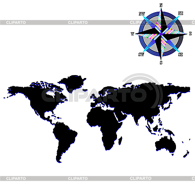 Black world map with wind rose | Stock Vector Graphics |ID 3002629