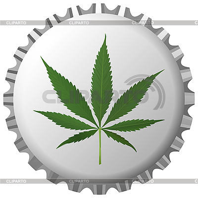 Cannabis leaf on bottle cap against white   Stock Vector Graphics  ID 3002897