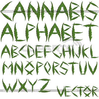 Alfabet liści konopi | Klipart wektorowy |ID 3002901