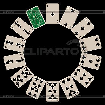 Kluby kształcie okręgu kart izolowanych na czarno | Klipart wektorowy |ID 3003005