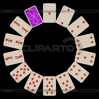 Circle shape diams playing cards isolated on black   Stock Vector Graphics  ID 3003007