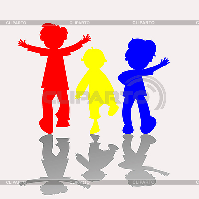 Colored kids silhouettes 2   Stock Vector Graphics  ID 3003135