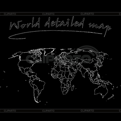 Schwarze detaillierte Weltkarte | Stock Vektorgrafik |ID 3003351