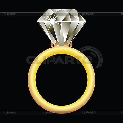 Diamond ring against black | Stock Vector Graphics |ID 3003363