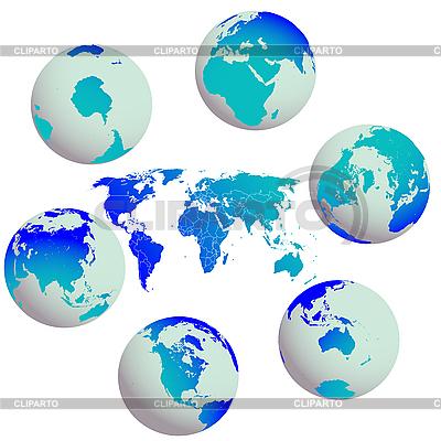 지구 글로브와 세계지도 | 벡터 클립 아트 |ID 3003465