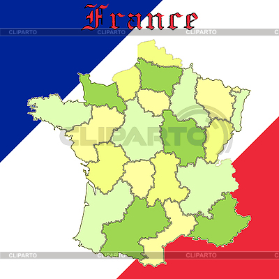 在民族色彩的法国地图 | 向量插图 |ID 3003695