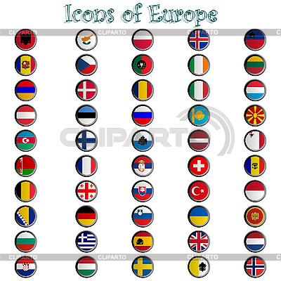 Glänzende Icons mit Europa-Flaggen | Stock Vektorgrafik |ID 3003737