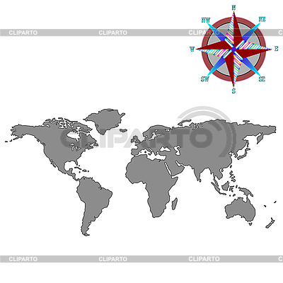 Gray world map with wind rose | Stock Vector Graphics |ID 3003857