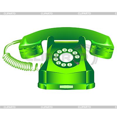Zielony telefon retro z białym | Klipart wektorowy |ID 3003921