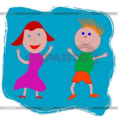 Szczęśliwy chłopiec i dziewczynka | Klipart wektorowy |ID 3004039