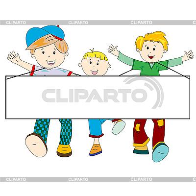 빈 배너와 함께 행복한 아이들이 만화 | 벡터 클립 아트 |ID 3004055