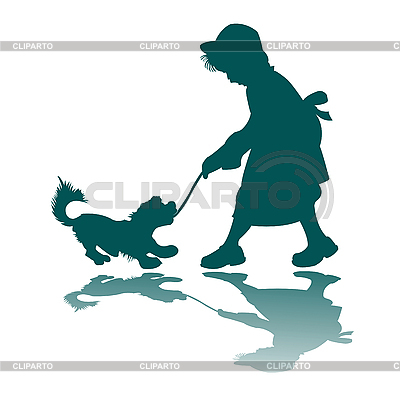 Little girl and dog silhouette   Stock Vector Graphics  ID 3004320